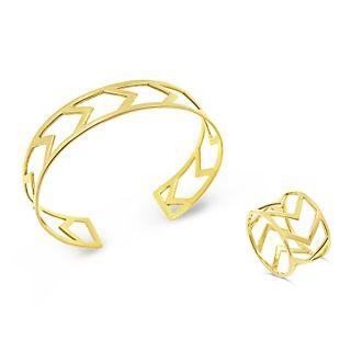 MUAU Schmuck Fairtrade Armreif Alice Golden - 925 Silber 18K matt vergoldet 1cf8b0e0ef