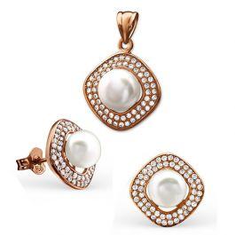 8fa9b9eaa8ff Schmuck Set Square Silber 925 Süsswasserperlen Rose - Sets - Sale - Damen    Schmuck Shop   Gold Diamanten Perlen Silber